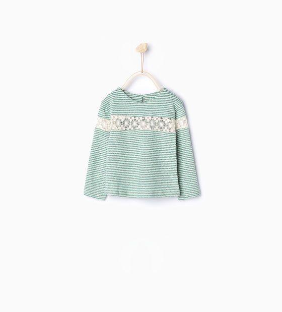 ZARA - KINDEREN - Kanten shirt met strepen