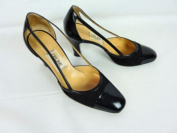 Escarpins en cuir et daim noir, CELINE vintage, Taille 36,5 FR (5 US - 3,5 Uk) de la boutique TheNuLIFEshop sur Etsy