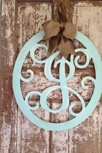 Monogrammed Wooden Wreath / Hanger by SouthernStyleGifts on Etsy, $65.00