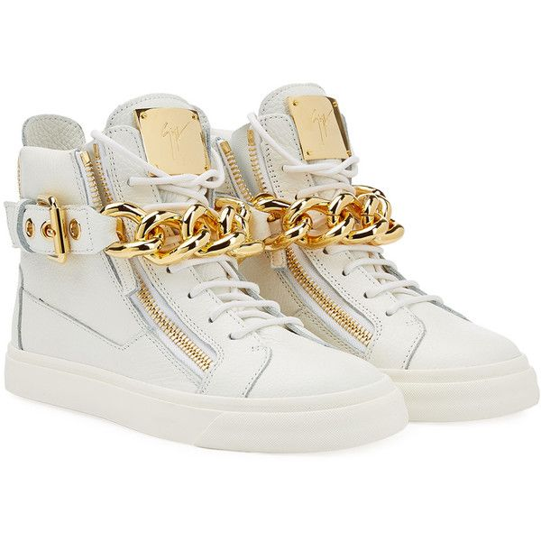 Giuseppe Zanotti Chain-Detailed Leather Sneakers ($735) ❤ liked on Polyvore featuring shoes, sneakers, white, women, embellished shoes, leather shoes, giuseppe zanotti, round toe shoes and leather trainers