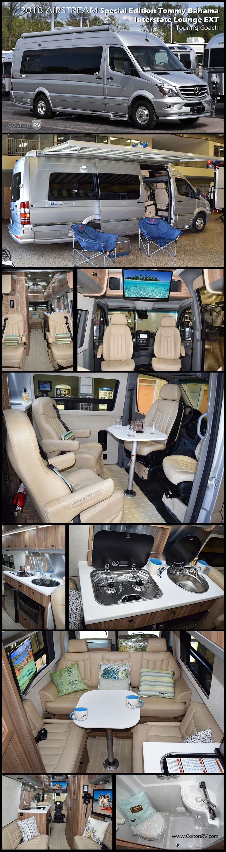 Island life is here. Tommy Bahama and Airstream bring iconic quality and comfortable ease together beautifully in this 2018 AIRSTREAM Special Edition TOMMY BAHAMA Interstate Lounge EXT Touring Coach. Open the rear doors to bring in the ocean breeze and enjoy the powered wood blinds and Tommy Bahama décor accents. This new special edition is built for relaxation and adventure.