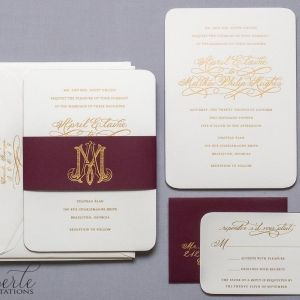 Winery wedding invitation with gold engraved printing, custom calligraphy, rounded edges, and burgundy edge painting.  Gorgeous!  www.eberleinvitations.com