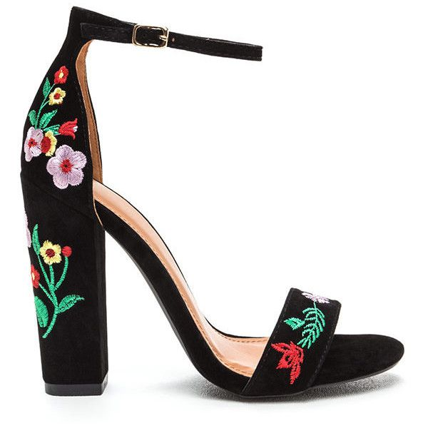 Top Flor Embroidered Chunky Heels ($38) ❤ liked on Polyvore featuring shoes, black, flower print shoes, high heel shoes, high heeled footwear, chunky heel shoes and thick high heel shoes