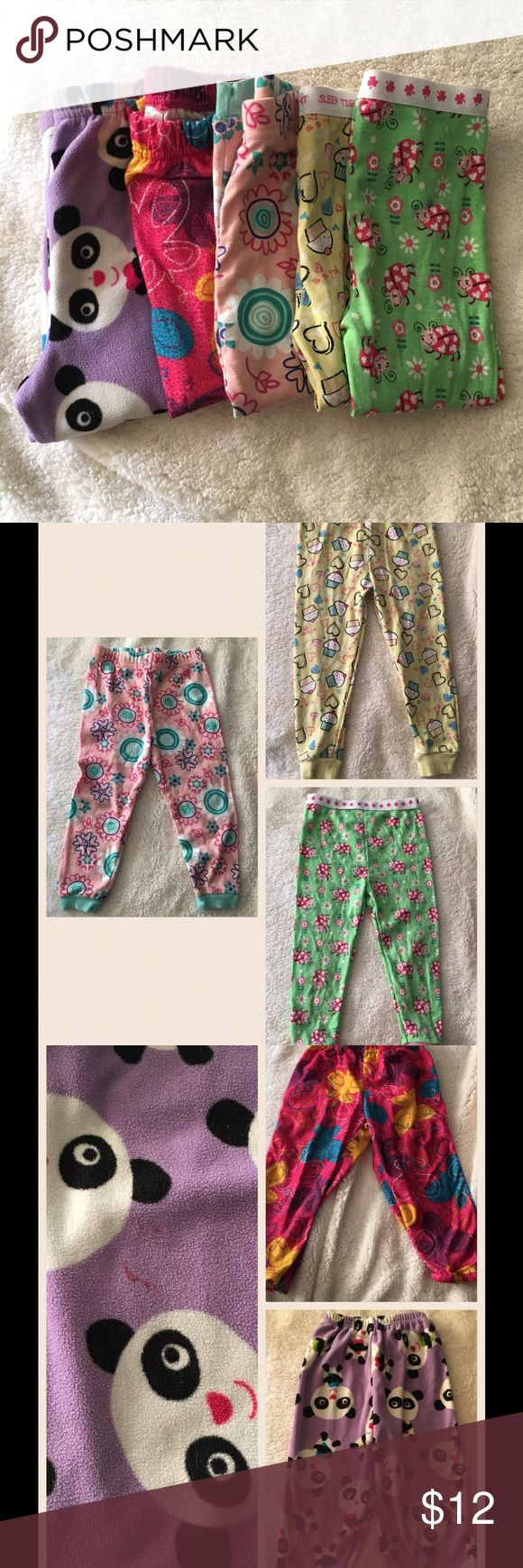 Lot of 5 pajama bottoms 24 months/2T Purple with pandas (Carters), pink with butterfly's(no brand name on), light pink with flowers (Kidgets), yellow with cupcakes (no brand name on tag),  and green with lady bugs (no brand name on tags). Selling all of these together! All used but in good condition. Size 24 months and 2T. Pajamas Pajama Bottoms