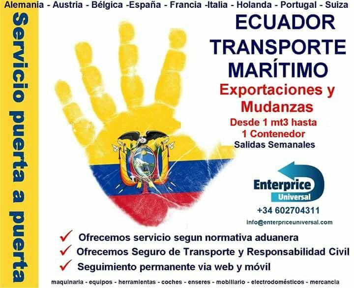 #CargaEcuador Tenemos oficinas en toda Europa, recogemos de su domicilio. Consultar por prohibiciones y restricciones en Ecuador. Más información +34 602704311 info@enterpriceuniversal.com ·#EcuatorianosenEuropa