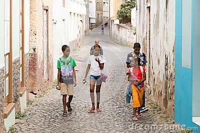 Cape Verdean children on the street in the island of Sao Nicolau in the archipelago of Cape Verde.