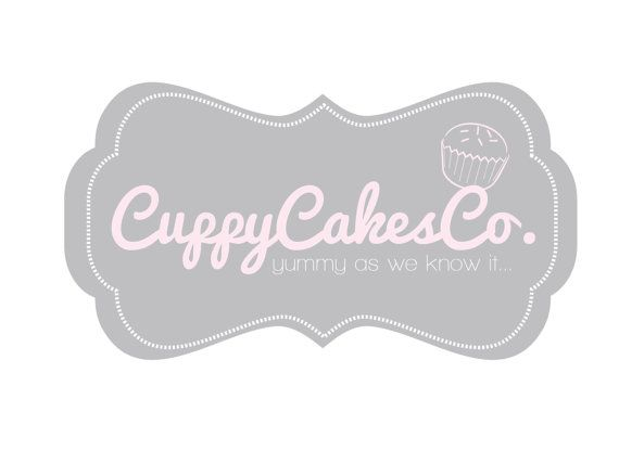 premade logo design for photographers and small crafty boutiques grey frame with pink cupcake