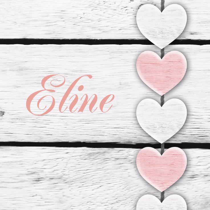 Harten roze tekst houtprint, verkrijgbaar bij #kaartje2go voor €1,89 #geboortekaart #meisje #dochter #hartjes #hout