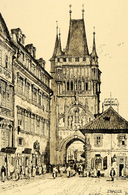 Charles Bridge Tower, Prague, by Samuel Prout (1915 Reproduction)