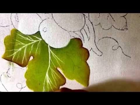 Pintura en tela hojas y uvas verdes con cony