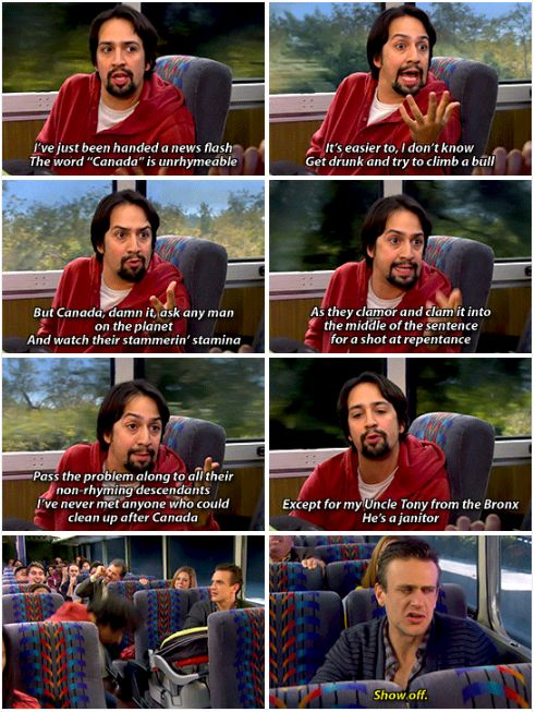 "And he wasn't just on HIMYM as any regular guest star… he was on as a special rapping guest star named Gus who had a lot to say about Canada. | ICYMI, ""Hamilton"" Star Lin-Manuel Miranda Once Rapped On A Bus On ""HIMYM"""