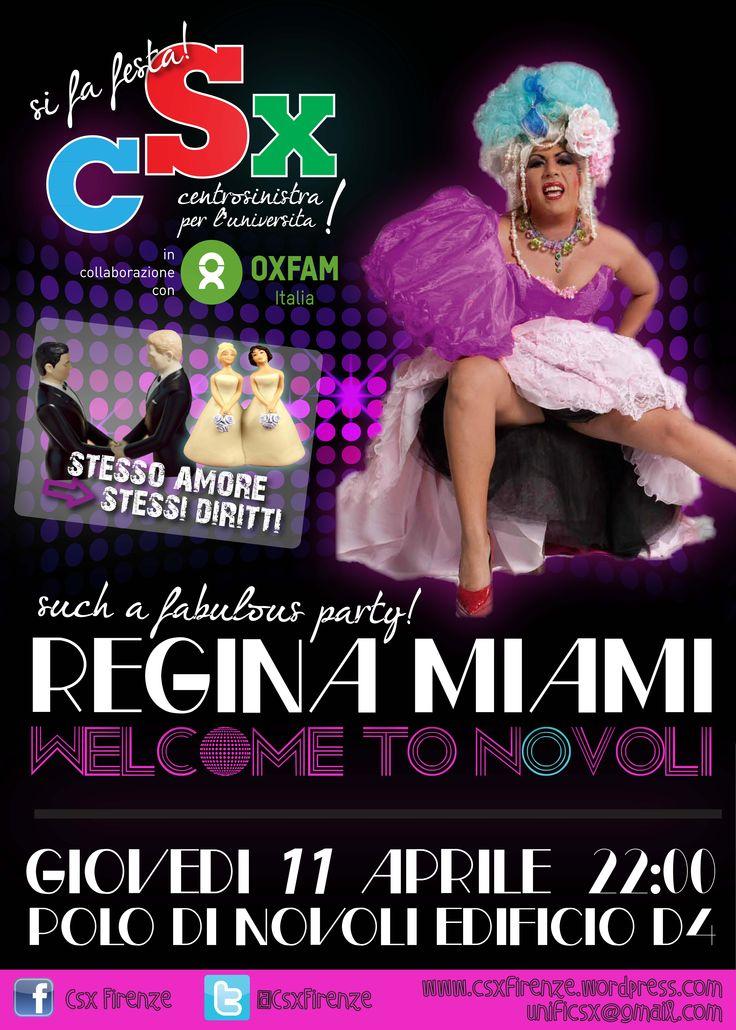 CSX Centrosinistra per l'Università Firenze, festa friendly al polo di Novoli. Ospite Regina Miami e staff.