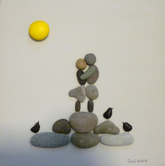 LOVERS. Canvas. Pebble Art. Painted stones. by qvistdesign