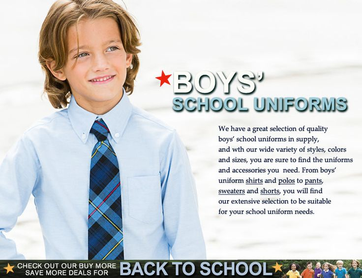 We have a great selection of quality boys' school uniforms in supplies, and with our wide variety of styles, colors and sizes, you are sure to find the uniforms and accessories you need. From boys' uniform shirts and polos to pants, sweaters and shorts, you will find our extensive selection to be suitable for your school uniform needs.