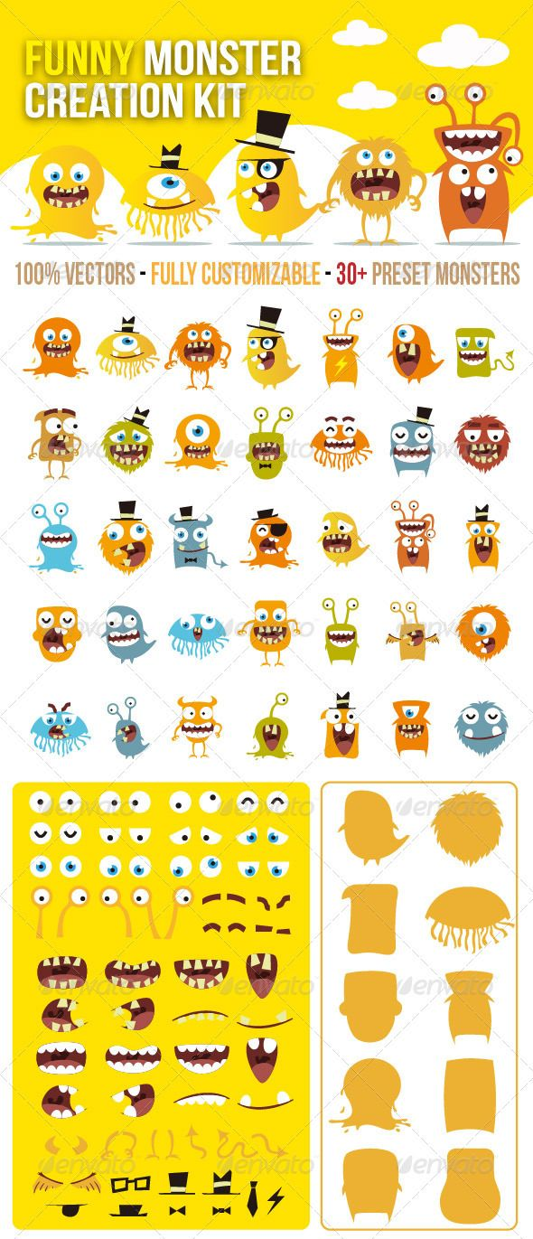 Funny Monster Creation Kit #GraphicRiver This is a unique creation kit of funny monster.You can use it to create hundreds of cute monsters easily for web&print advertisements,avatars,t-shirts… I have done 35 pre-made characters that you can customize,and you can build more of that your own with all the elements in the kit. Thanks! Created: 2February13 GraphicsFilesIncluded: TransparentPNG #VectorEPS #AIIllustrator Layered: Yes MinimumAdobeCSVersion: CS Tags: avatar #beast #cartoon #character…