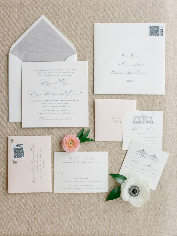 spanish wedding invitations uk%0A Meggie and Bill u    s stunning Southern stationery suite featured blush  envelopes  dove grey liners  and