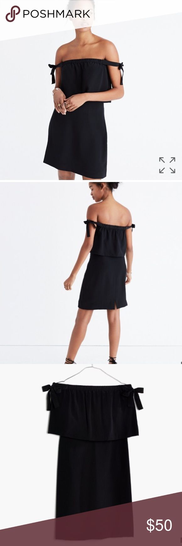 """Madewell Off The Shoulder Silk Dress This is a NWT black, off the shoulder dress purchased from Madewell. It's brand new- only time it's been worn is when I tried it on right after buying. It's beautiful but just a little long for me (getting hemmed would be easy- I'm 5' 2""""). It's a great material and is super flattering. It retailed for $138 + tax. Ships within 4 days of purchase. Madewell Dresses"""