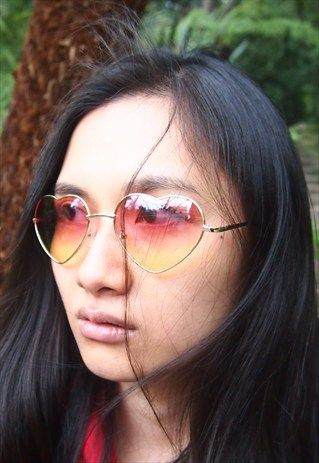 PINK YELLOW OMBRE HEART SUNGLASSES -VINTINGS