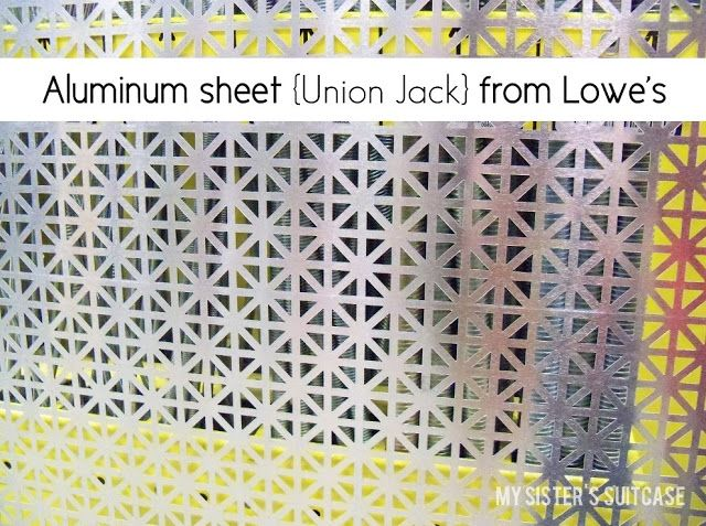 "It's a 24x36"" decorative aluminum sheet {in Union Jack pattern.} It was love at first sight. With a name like ""Union Jack"" how could I not ..."