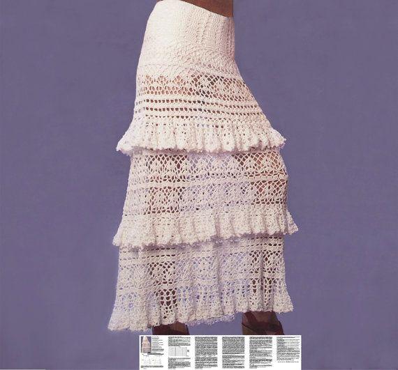 Maxi skirt crochet PATTERN, boho crochet skirt pattern, detailed description in English for every row, sexy long crochet skirt PDF pattern