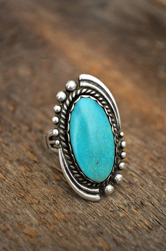 Large Native American Sterling Silver Turquoise Ring. via Etsy.
