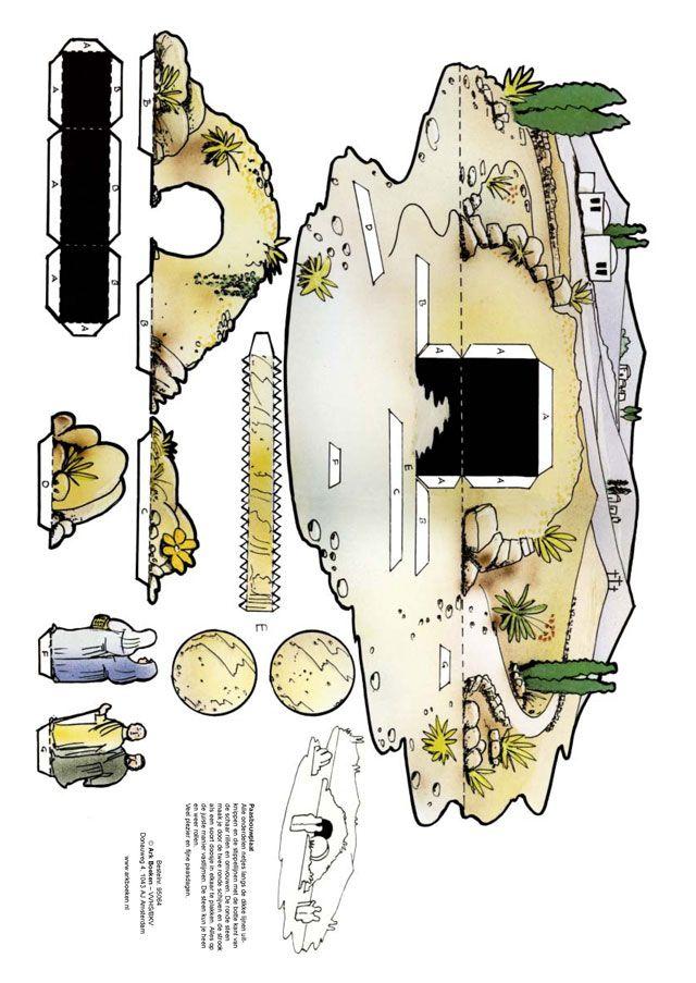 Tomb diorama @ http://www.gkvapeldoornzuid.nl/index.php/speciaal/kleurplaten/bouwplaten-pasen-a-pinksteren/598-graf-van-jezus