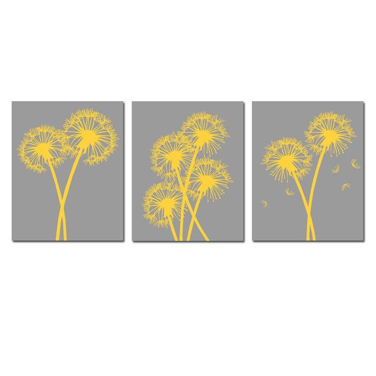 Modern Dandelion Trio - Set of Three 8x10 Coordinating Floral Prints - Gray and Yellow. $55.00, via Etsy.