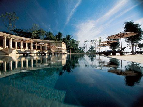 The swimming pool at Amanjiwo, the best luxury resort near Borobudur
