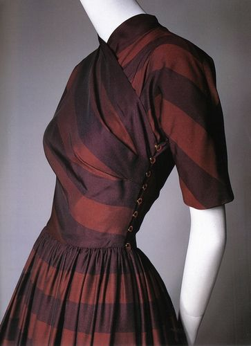 Claire McCardell dress in chocolate and copper stripes with trademark draped bodice.