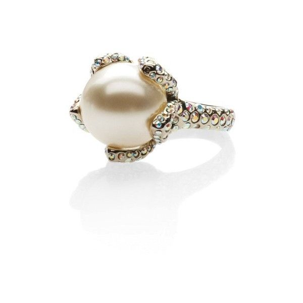 St. John Pearl  Swarovski Crystal Cocktail Ring featuring polyvore, women's fashion, jewelry, rings, natural, swarovski crystal rings, pave setting ring, white pearl ring, swarovski crystal jewelry and st. john jewelry