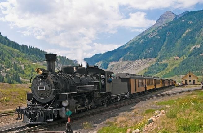Durango & Silverton Narrow Gauge Railroad.   Where: Colorado. You'll climb 3,000 feet & travel 130 years back in time onboard the Durango & Silverton Narrow Gauge Railroad, a circa-1882 coal-fired, steam-operated train (locomotives from 1920s) at 18 miles/hour (fueled by 6 tons of coal & 10,000 gallons of water) through steep mountain passes between Durango & Silverton in SW Colorado.      Fun fact: train is featured in the 1969 movie Cassidy and the Sundance Kid (Paul Newman & Robert…