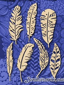 Scroll Saw Patterns :: Holidays :: Christmas :: Various ornaments :: Feather ornaments #2 - More