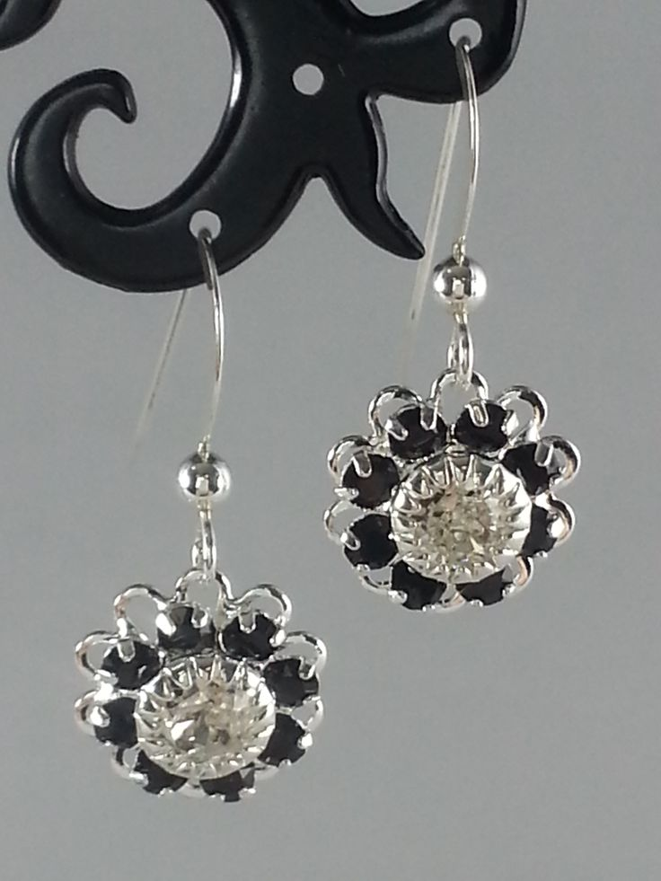 Jet and clear Swarovski crystals on silver earrings