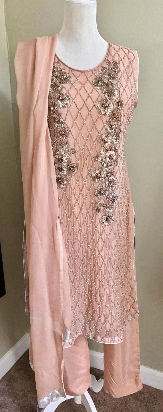 Pastel Pink Shalwar Kameez Hand Embroidered Formal Wedding