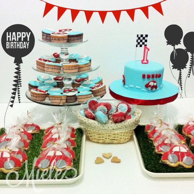 Little red car themed dessert spread