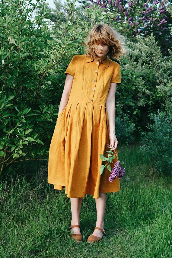 Abito in lino senape Camicia lino Dress Abito manica corta