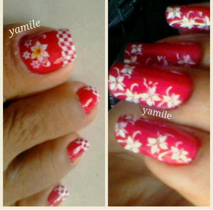 Hermoso diseño de yamile...pies y manos... #nailart #nails2inspire #stampingnailart #uñaslindas #polishgirls #esmalte #ibaguetolima #decoracion #rojos #decoracióndeuñas