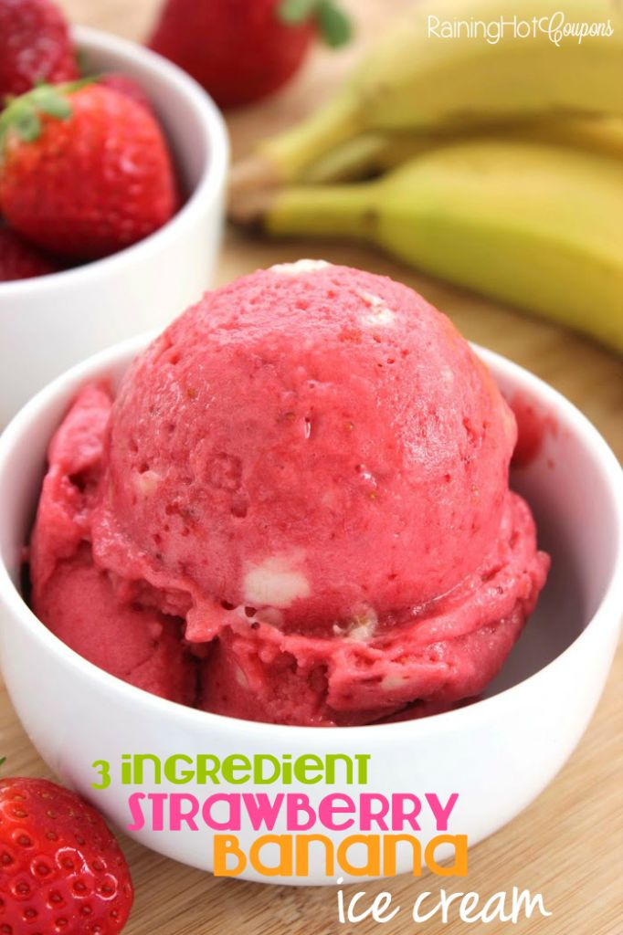 3-Ingredient Strawberry Banana Ice Cream (Non-Dairy!) - This ice cream is dairy free but you would never know. You only need 3 ingredients to whip it together. Perfect summer recipe.