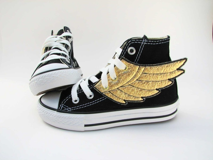 Superhero Shoes- Gold Wings. $24,00, via Etsy.Running Shoes, Fashion Shoes, Superhero Shoes, Kids Stuff, Clothing, Gold Wings, Convert, Girls Shoes, Percy Jackson