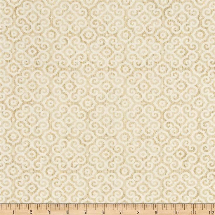 From Timeless Treasures, this cotton print fabric features an intricate, tonal design with a hint of metallic. Perfect for quilting, apparel and home decor accents. Colors include white, cream and metallic gold.