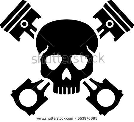 Skull with crossed pistons
