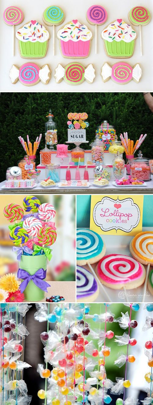 lollipops in painted tin bucket or glass candy-filled jar  Candy-themed party  @ bottle your brand