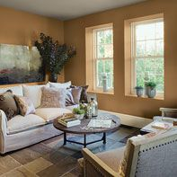 Living room in Benjamin Moore orange paint color scheme. I think this is a great choice for a Spanish home in So Calif.