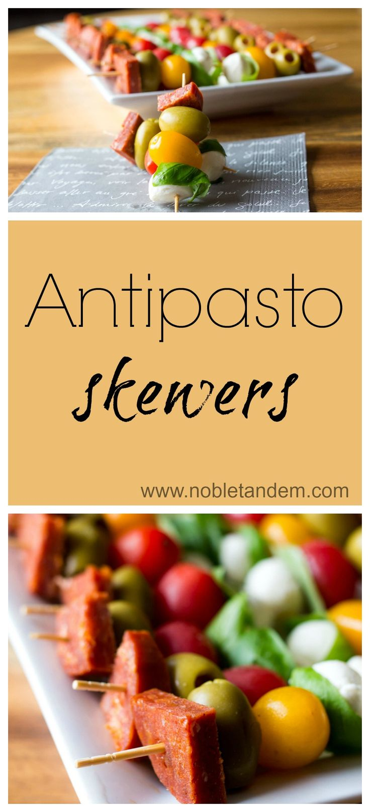 Easy and delicious antipasto skewers. This is a great appetizer to put together at the last minute or went you have a lot a people over and you don't want to spend all your time in the kitchen. You can even prepare them in advance. http://www.nobletandem.com/recipe/easy-delicious-antipasto-skewers/