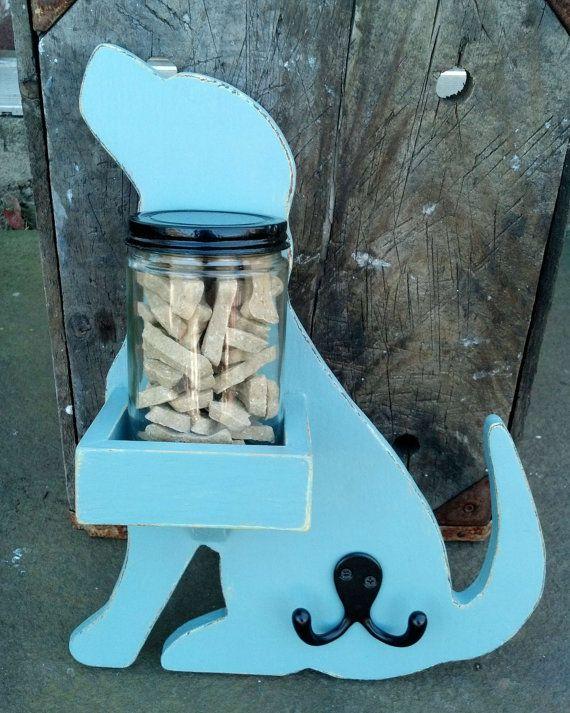 Wood Puppy Dog Treat Jar Shelf Amp Leash Hooks By