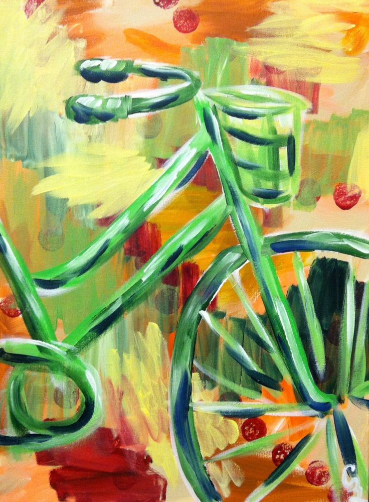 Wall Art, Wall Decor, Original Painting, Canvas Painting, Acrylic Painting, Abstract Art, Floral Art, Original Art, Summer Bicycle by CeceliaBlenkerArt on Etsy