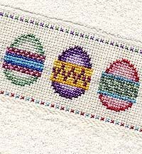 free easter egg cross stitch patterns; I'm always forgetting about stitching on towels. I was afraid to, because of constant washing, but I have found that DMC fiber holds up well to many washings, so I recommend considering towels as a finishing medium. Also a great gift for someone for a birthday or for Christmas.