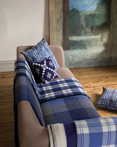 Melin Tregwynt - Woven in Wales woollen blankets throws cushions in demin blue