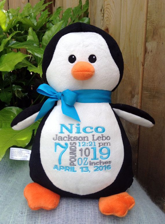 443 best personalized baby gifts images on pinterest baby gift monogrammed penguin new baby by worldclassembroidery personalized negle Image collections