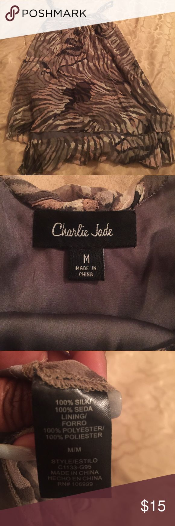 Charlie Jade Silk Animal Print Top Charlie Jade Silk Animal Print Top. Loose fitting.  Cute with leggings. Charlie Jade Tops